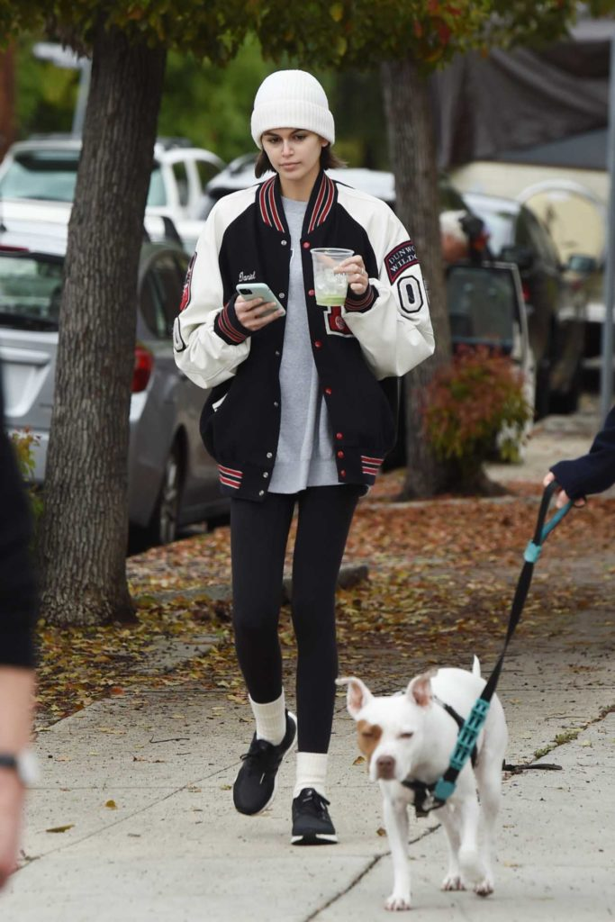 Kaia Gerber in a White Knit