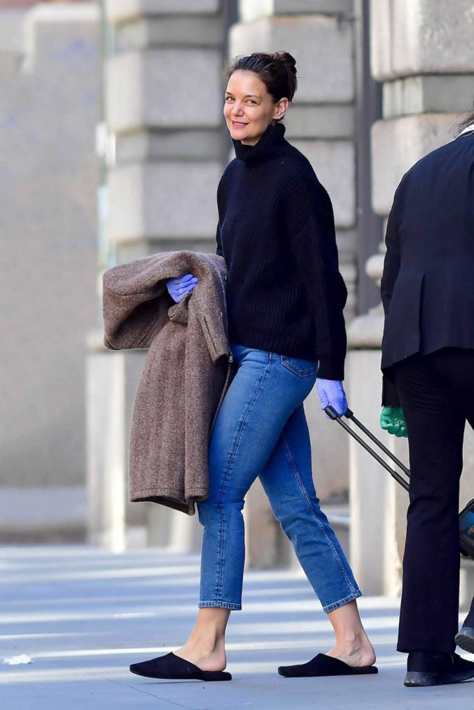Katie Holmes in a Purple Medical Gloves