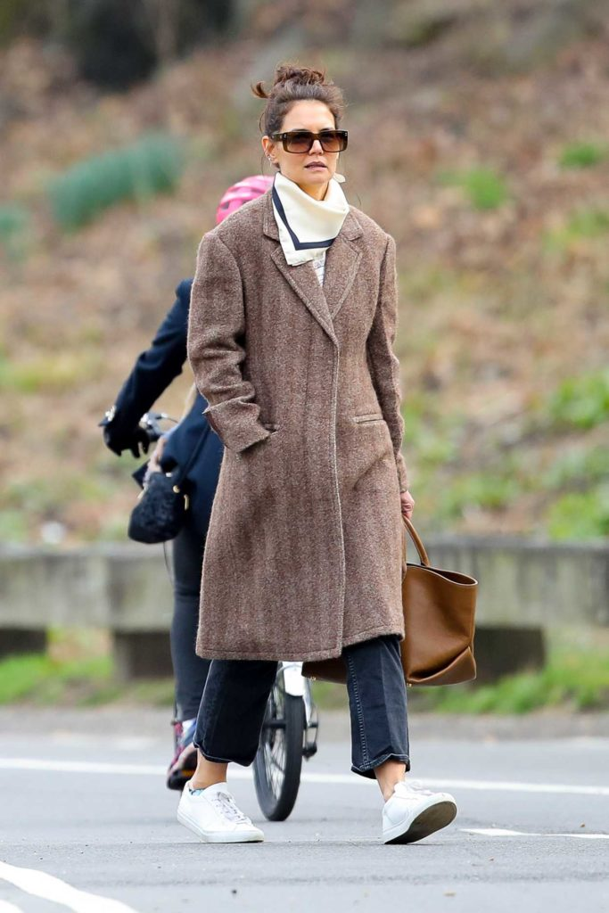 Katie Holmes in a Tan Coat