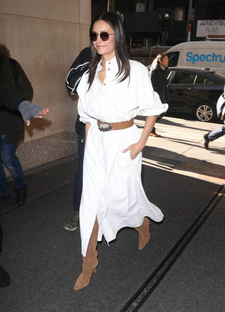 Nina Dobrev in a White Dress