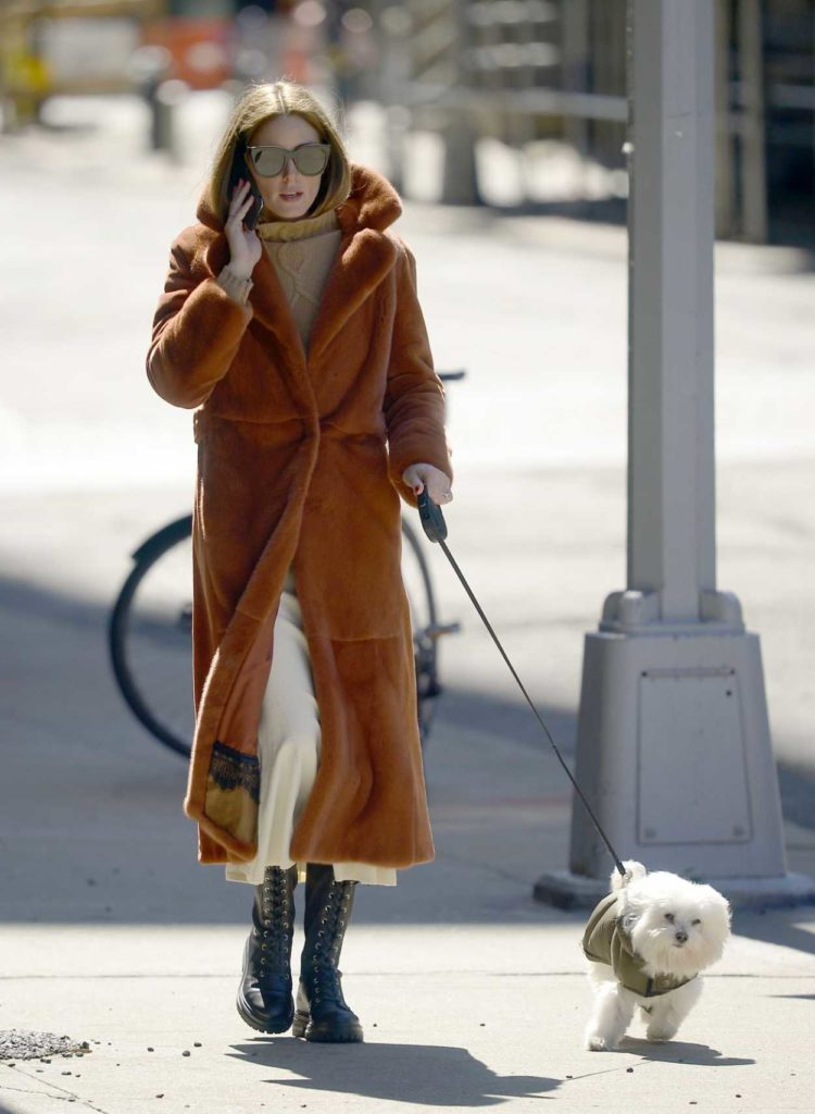 Olivia Palermo in a Tan Fur Coat
