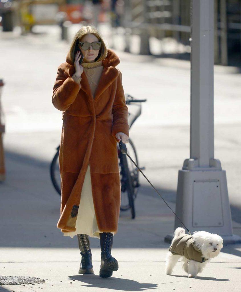 Olivia Palermo in a Tan Fur Coat