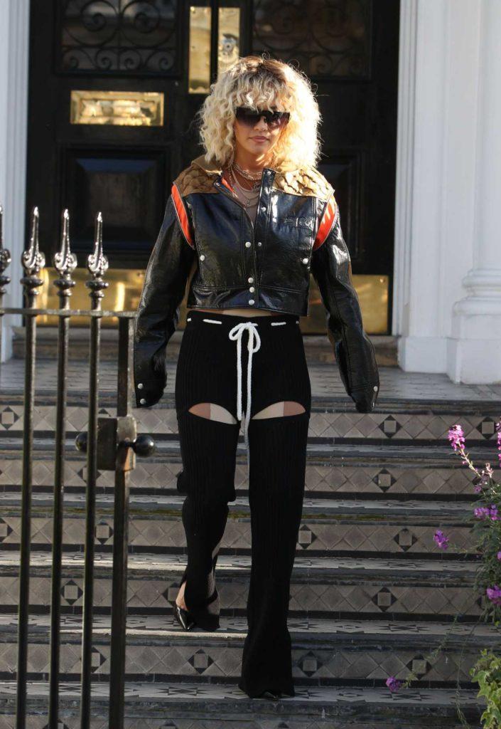 Rita Ora in a Black Leather Jacket