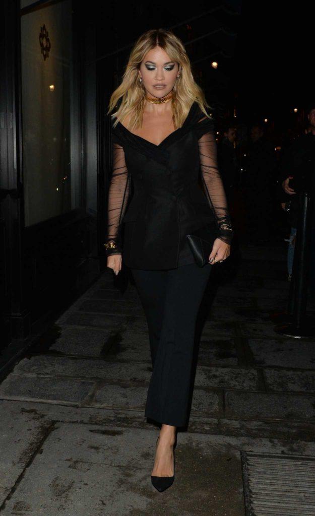 Rita Ora in a Black Suit