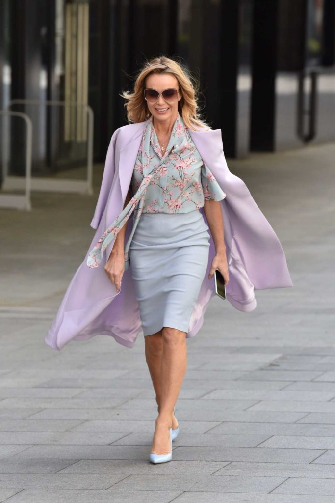 Amanda Holden in a Purple Trench Coat