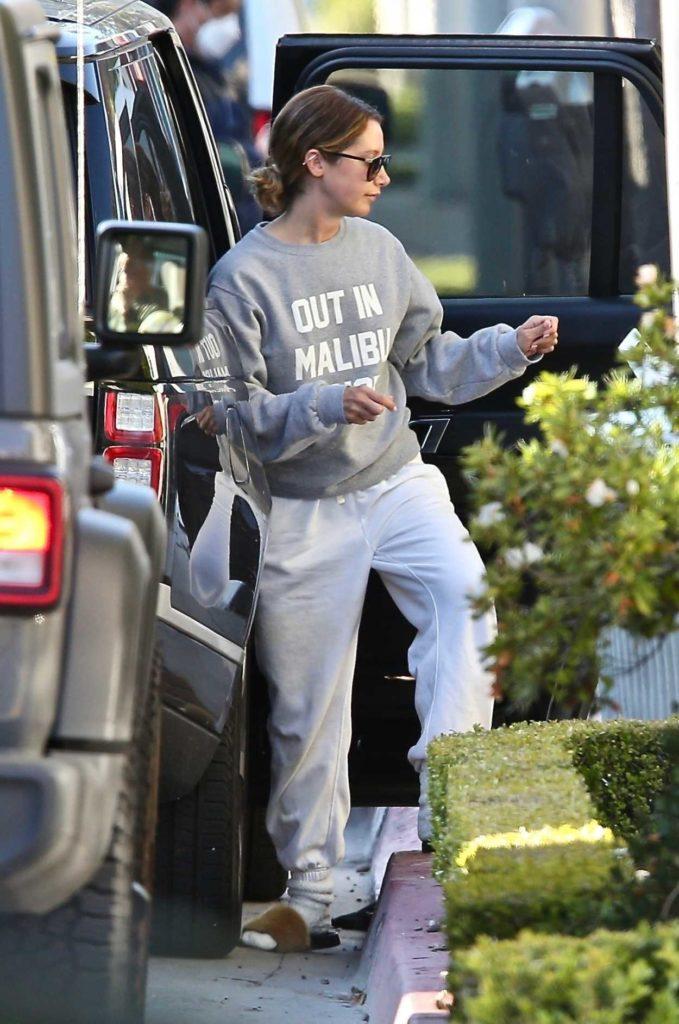 Ashley Tisdale in a Gray Sweatshirt