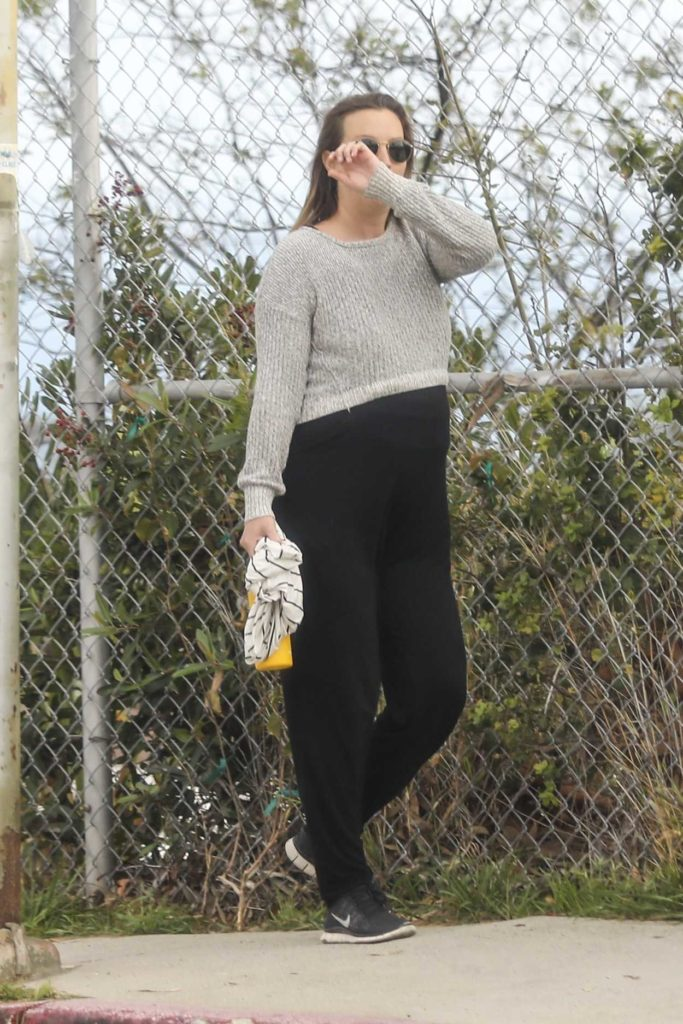 Leighton Meester in a Gray Sweater