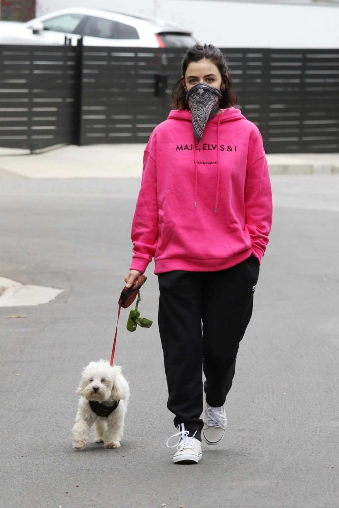 Lucy Hale in a Pink Hoody