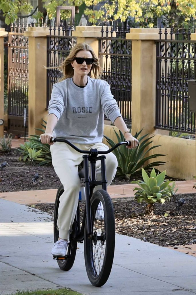 Rosie Huntington-Whiteley in a Gray Sweatshirt
