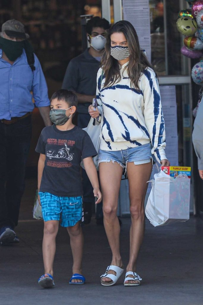 Alessandra Ambrosio in a Protective Mask