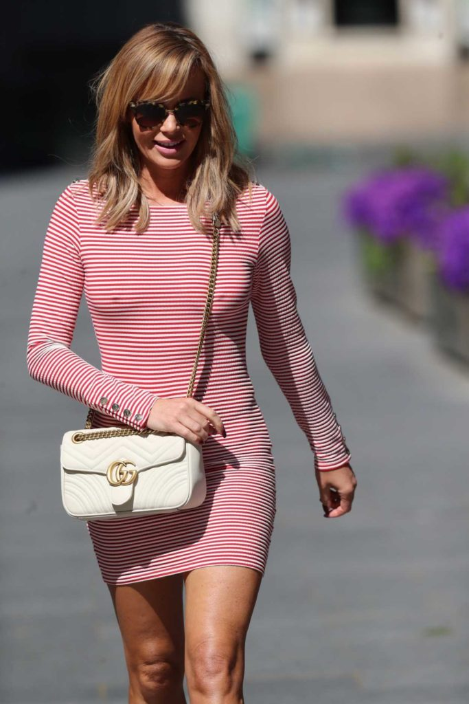Amanda Holden in a Tight Striped Dress