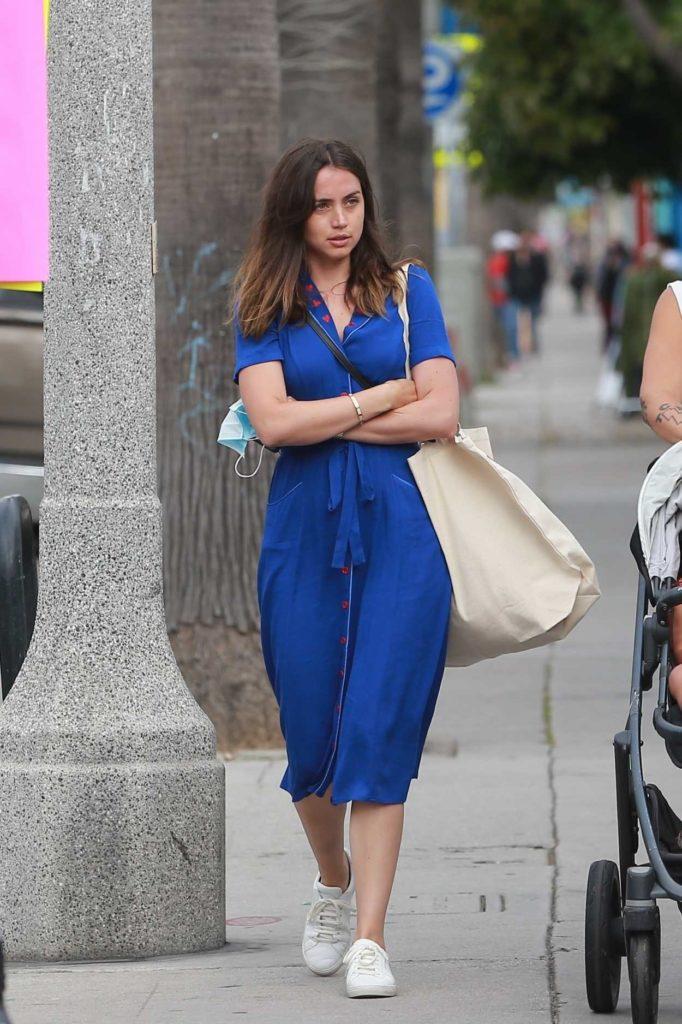 Ana de Armas in a Blue Dress