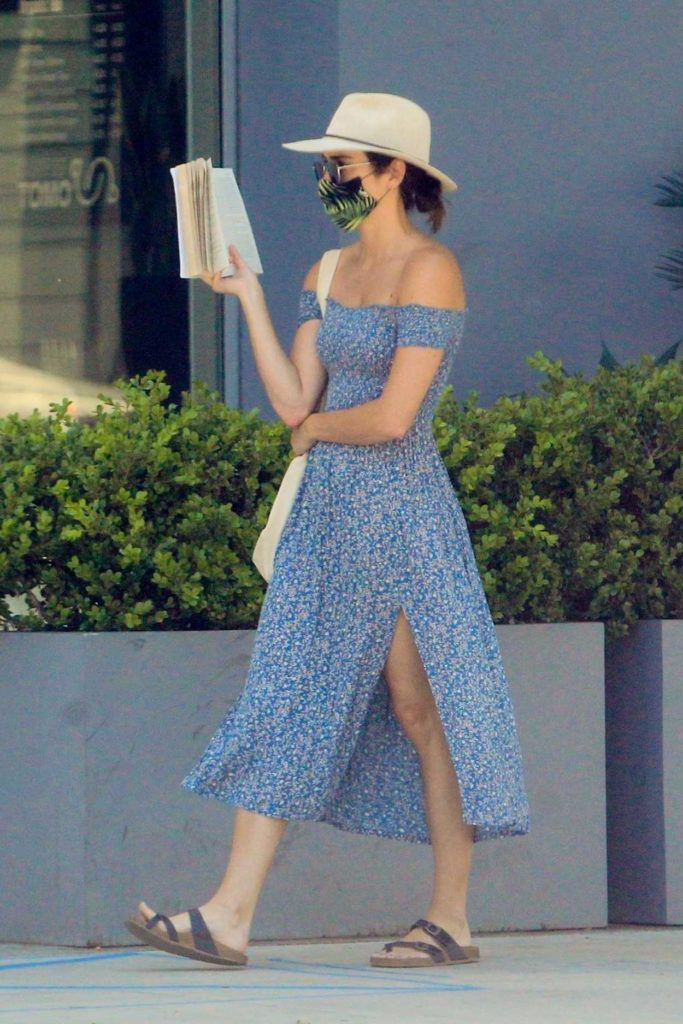 Ashley Greene in a Blue Floral Dress