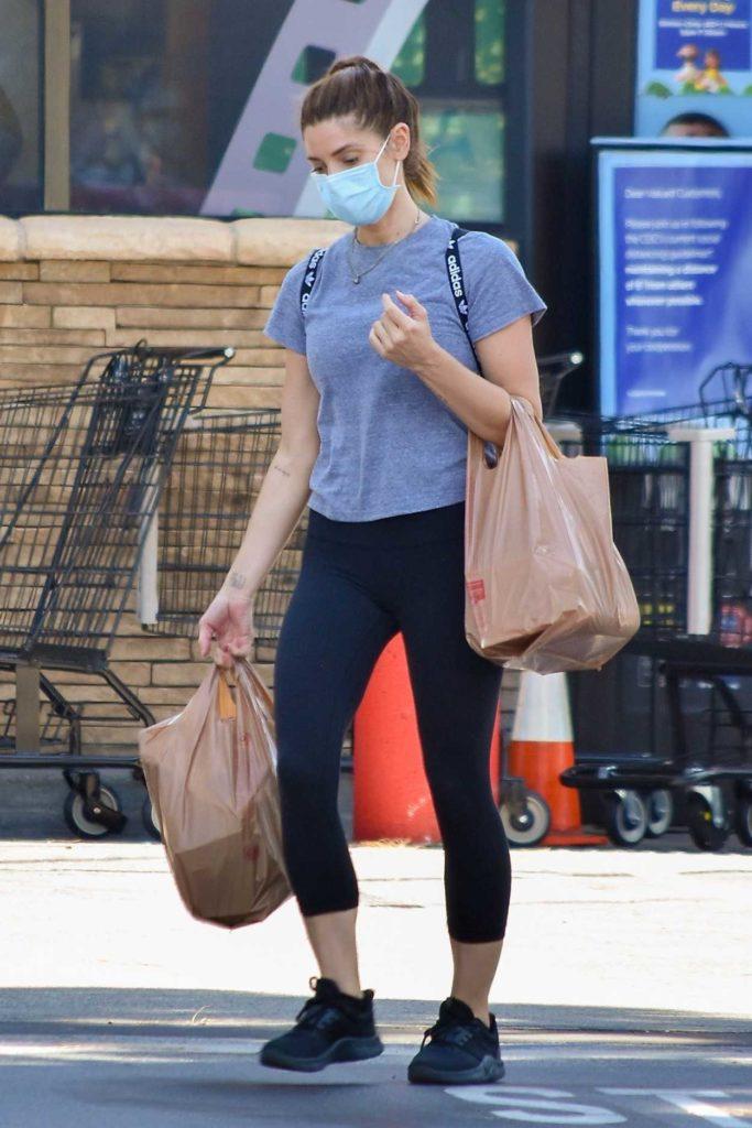 Ashley Greene in a Gray Tee