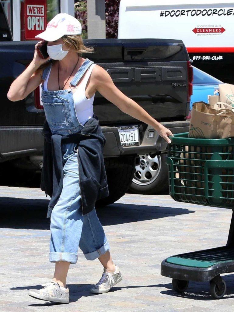Denise Richards in a Blue Denim Jumpsuit