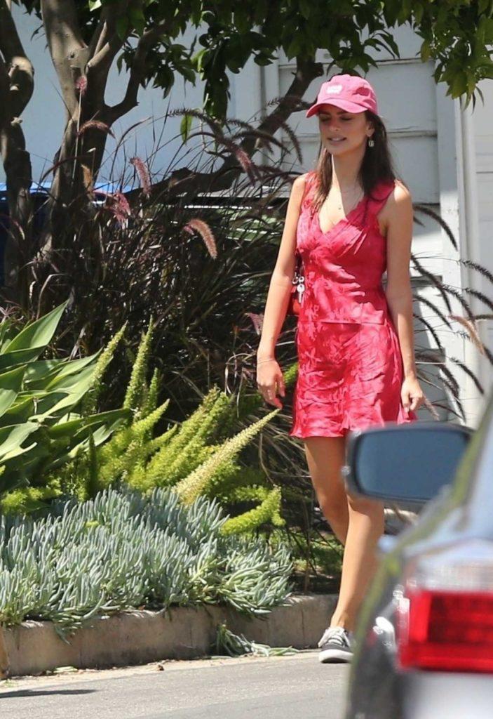 Emily Ratajkowski in a Red Short Dress