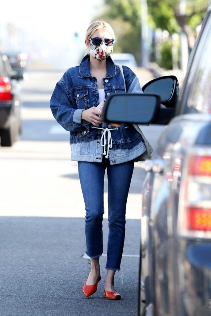 Emma Roberts in a Denim Suit