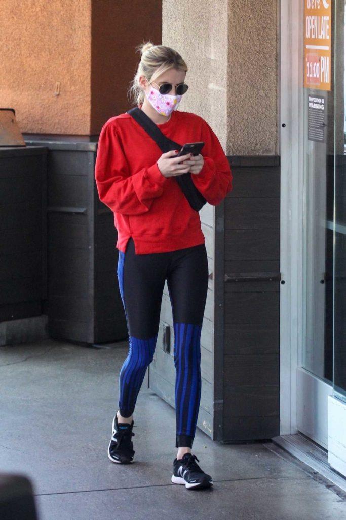 Emma Roberts in a Red Sweatshirt