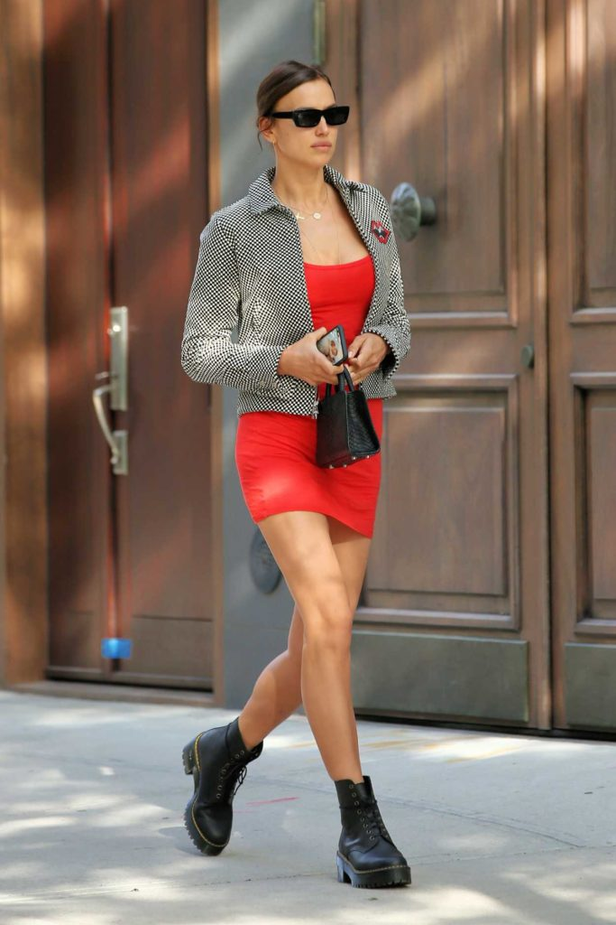 Irina Shayk in a Short Red Dress