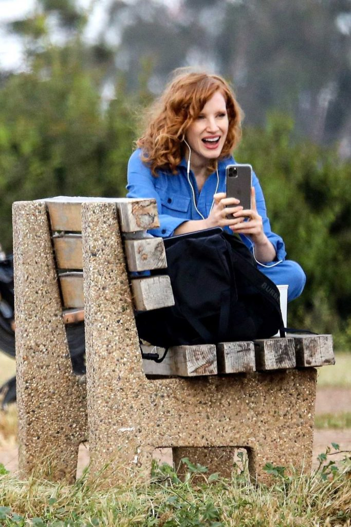 Jessica Chastain in a Blue Jumpsuit