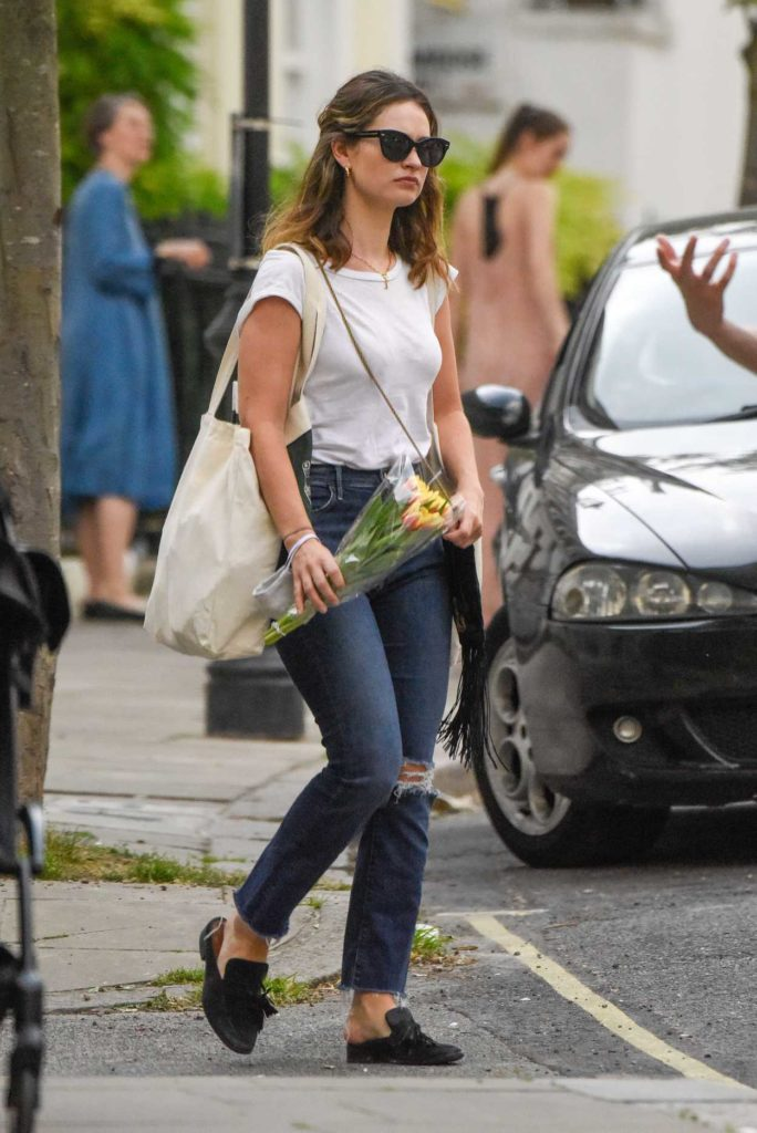 Lily James in a White Tee