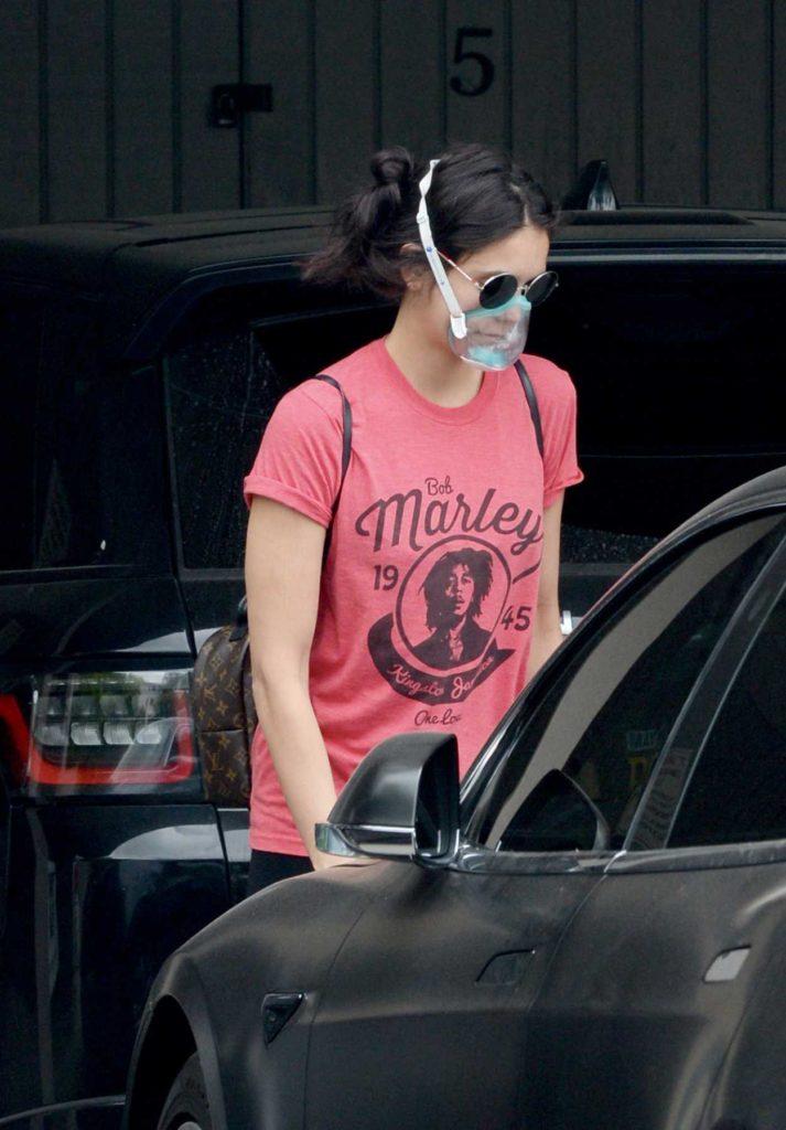Nina Dobrev in a See-Through Protective Mask