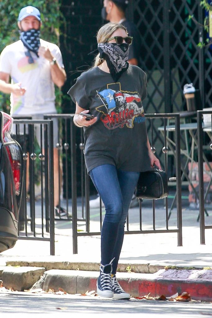 Ashley Benson in a Black Bandana as a Face Mask