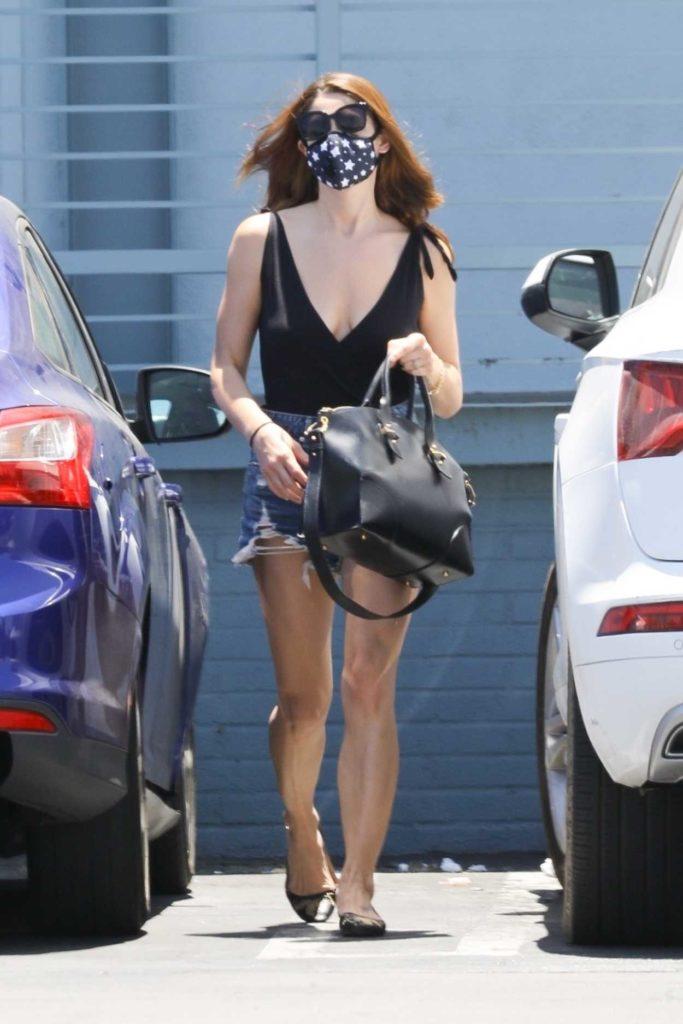 Ashley Greene in a Blue Daisy Duke Shorts