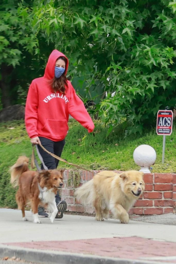 Aubrey Plaza in a Red Hoody