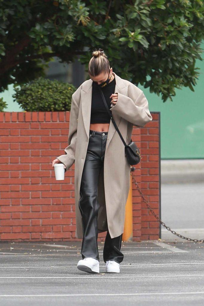 Hailey Bieber in a Beige Coat