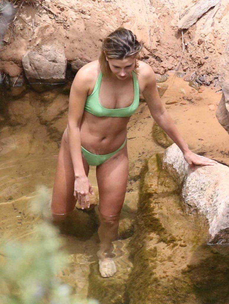 Hailey Bieber in a Neon Green Bikini