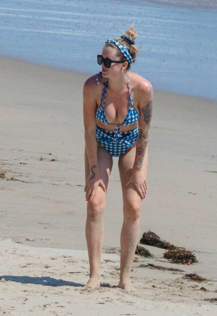 Ireland Baldwin in a Blue Checked Bikini