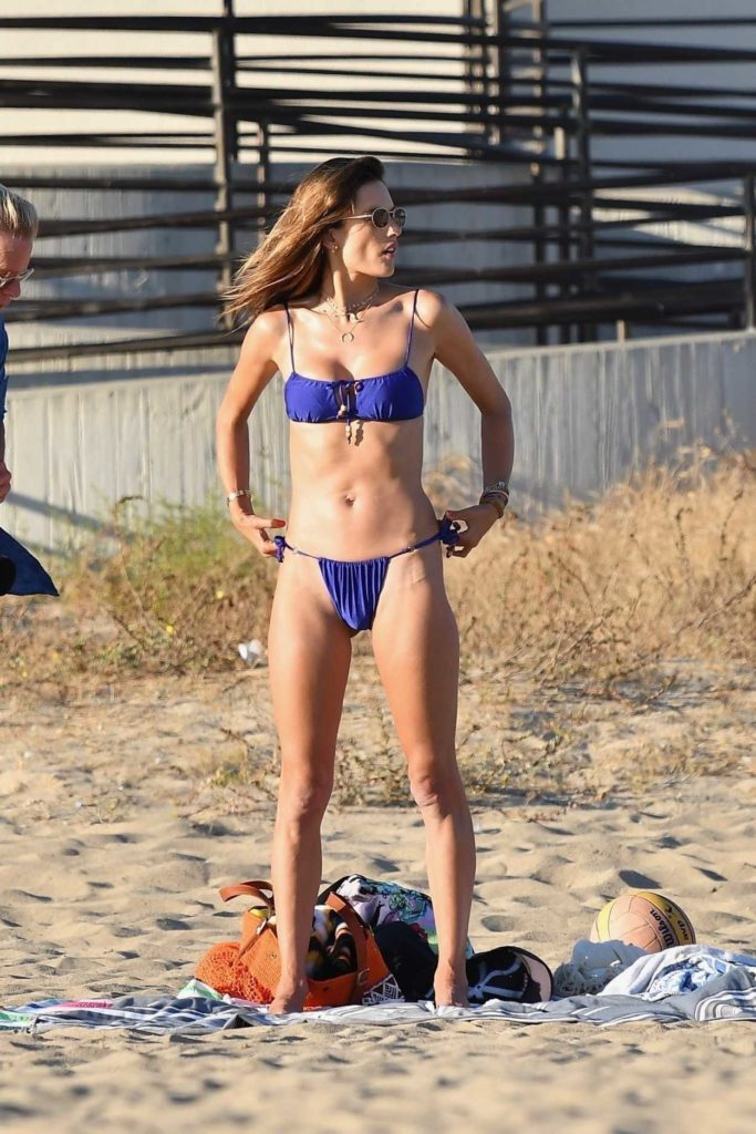 Alessandra Ambrosio in a Purple Bikini