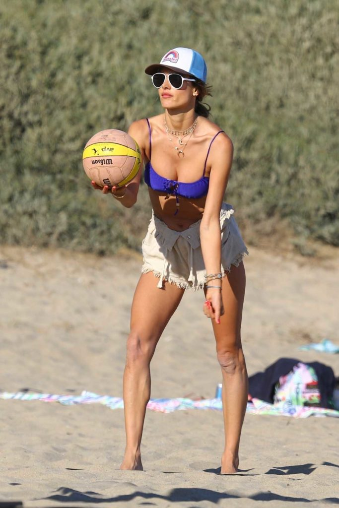 Alessandra Ambrosio in a Purple Bikini Top