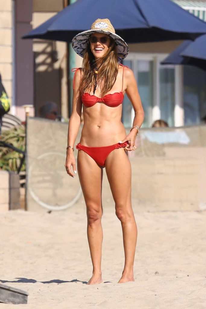 Alessandra Ambrosio in a Red Bikini