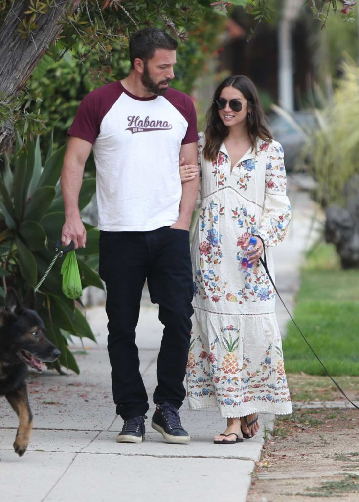 Ana De Armas in a White Floral Print Dress