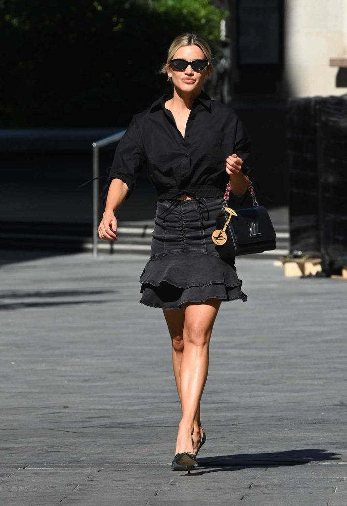 in a Black Denim Skirt Leaves the Global Radio Studios in London