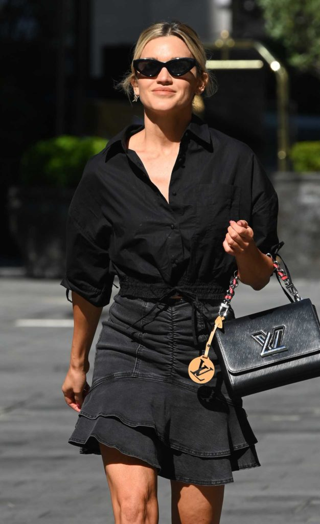 Ashley Roberts in a Black Denim Skirt