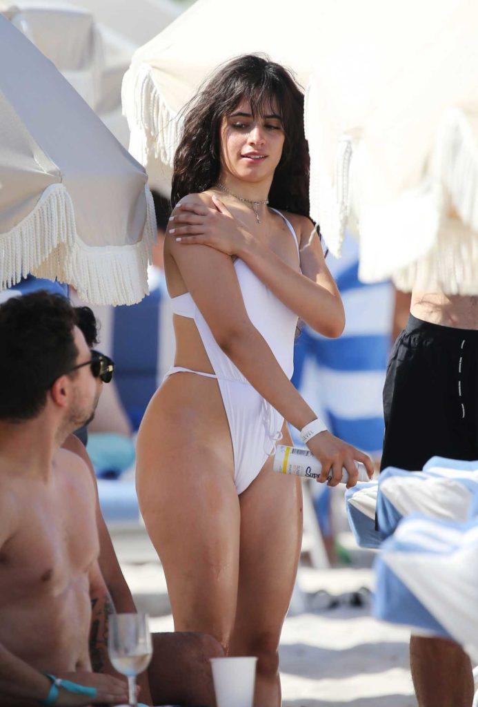 Camila Cabello in a White Swimsuit