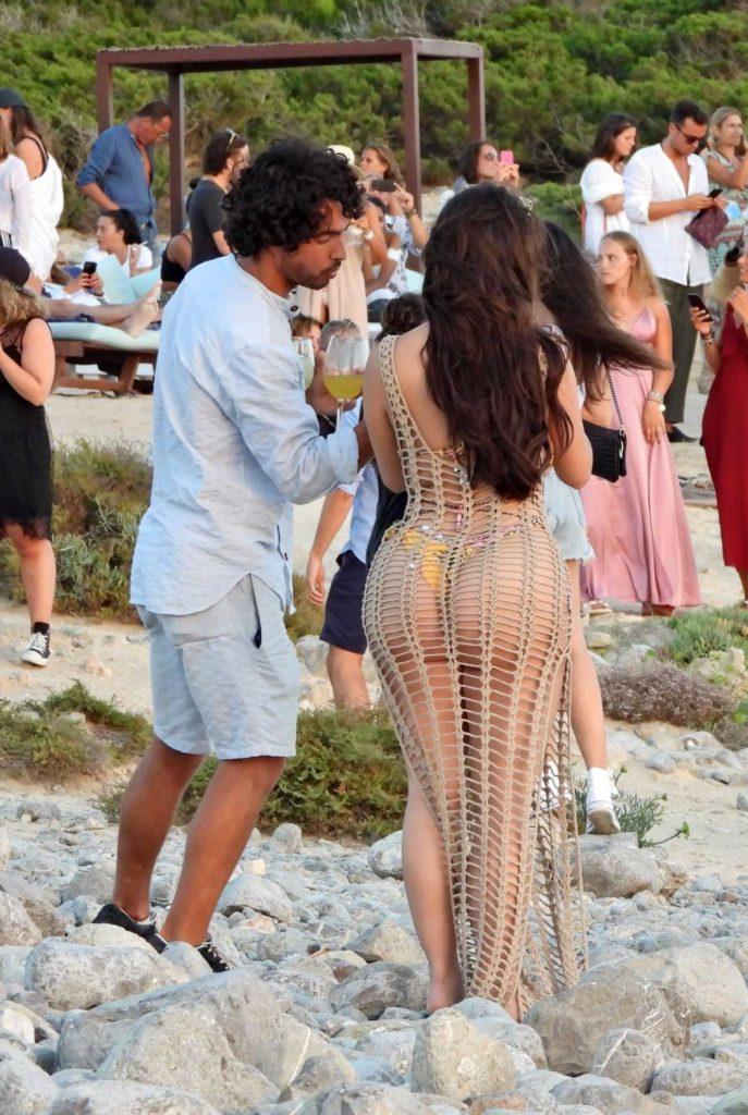 Demi Rose in a Beige See-Through Dress