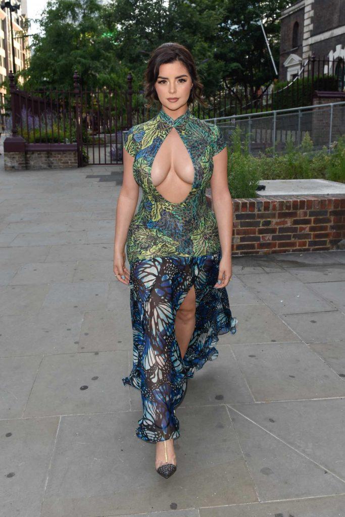Demi Rose in a Butterfly Print Dress