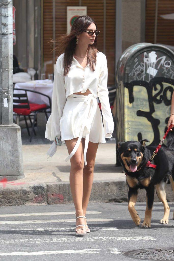 Emily Ratajkowski in a White Outfit