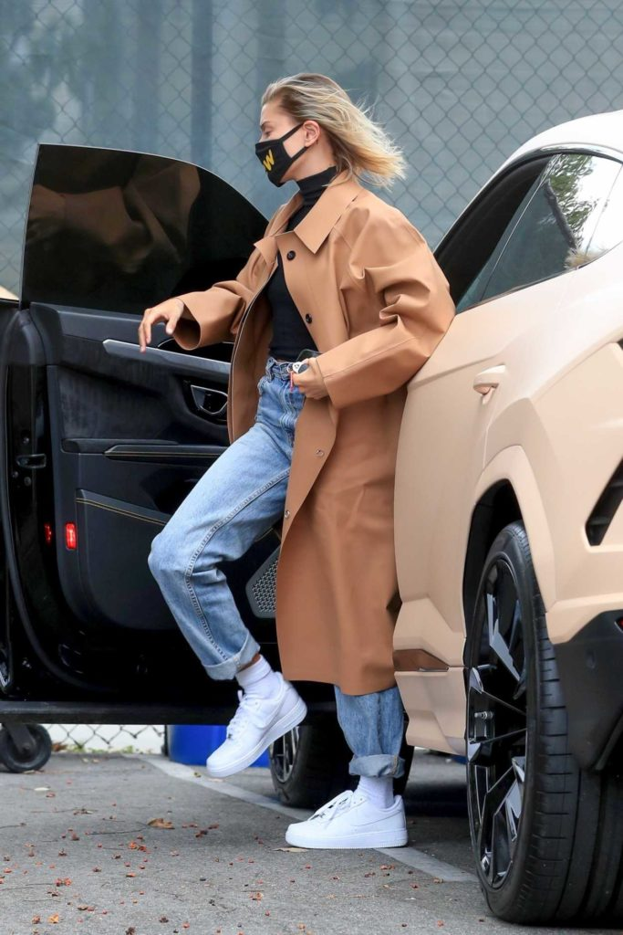 Hailey Bieber in a Beige Trench Coat