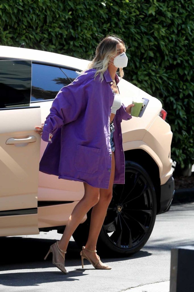 Hailey Bieber in a Purple Oversized Jacket