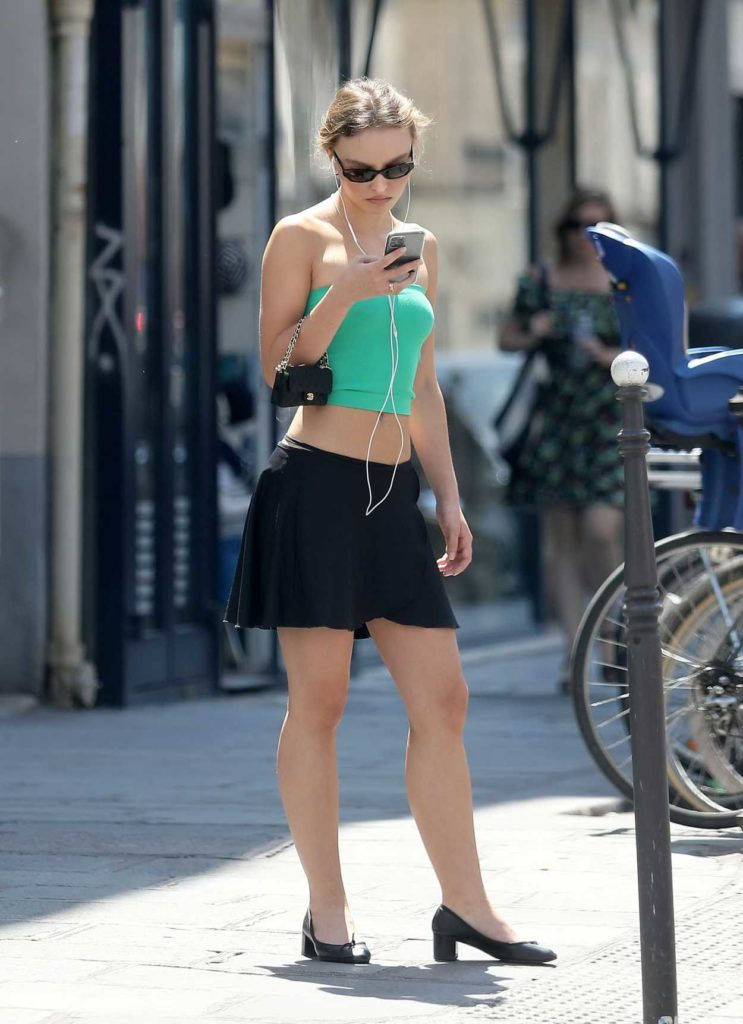 Lily-Rose Depp in a Green Top