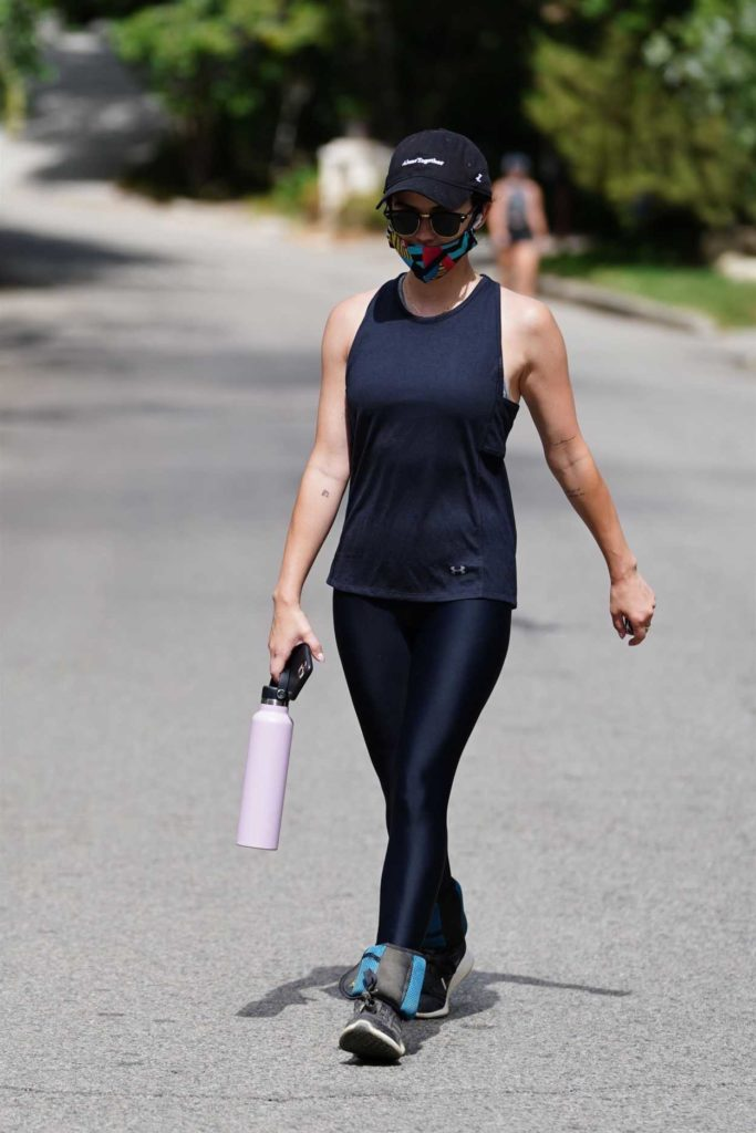 Lucy Hale in a Black Tank Top