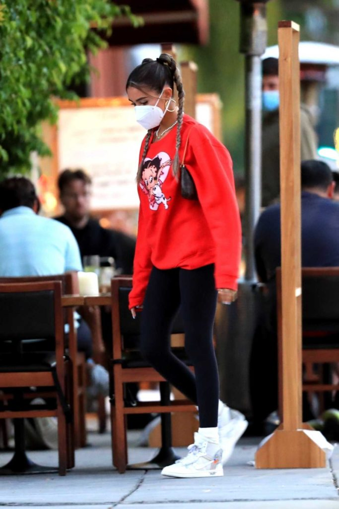 Madison Beer in a Red Sweatshirt
