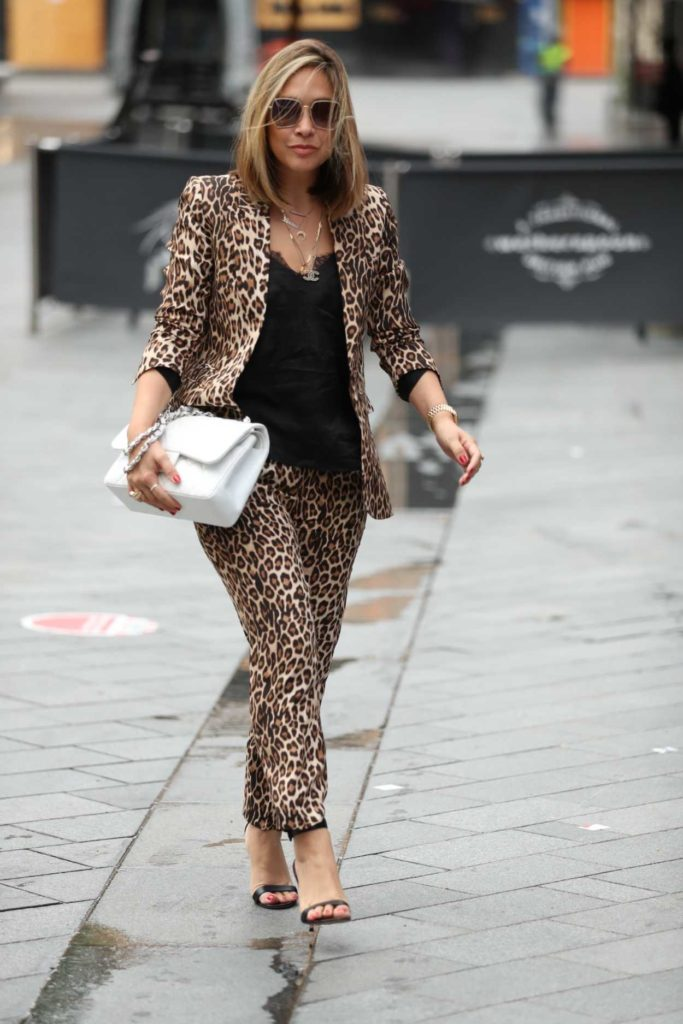 Myleene Klass in an Animal Print Suit