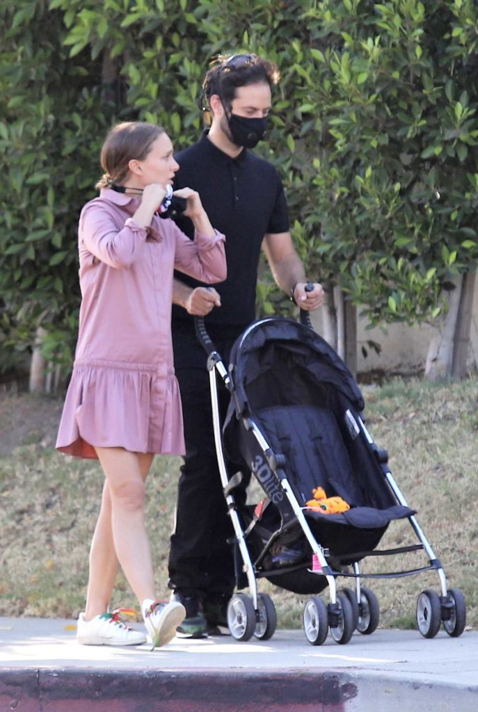 Natalie Portman in a Black Protective Mask