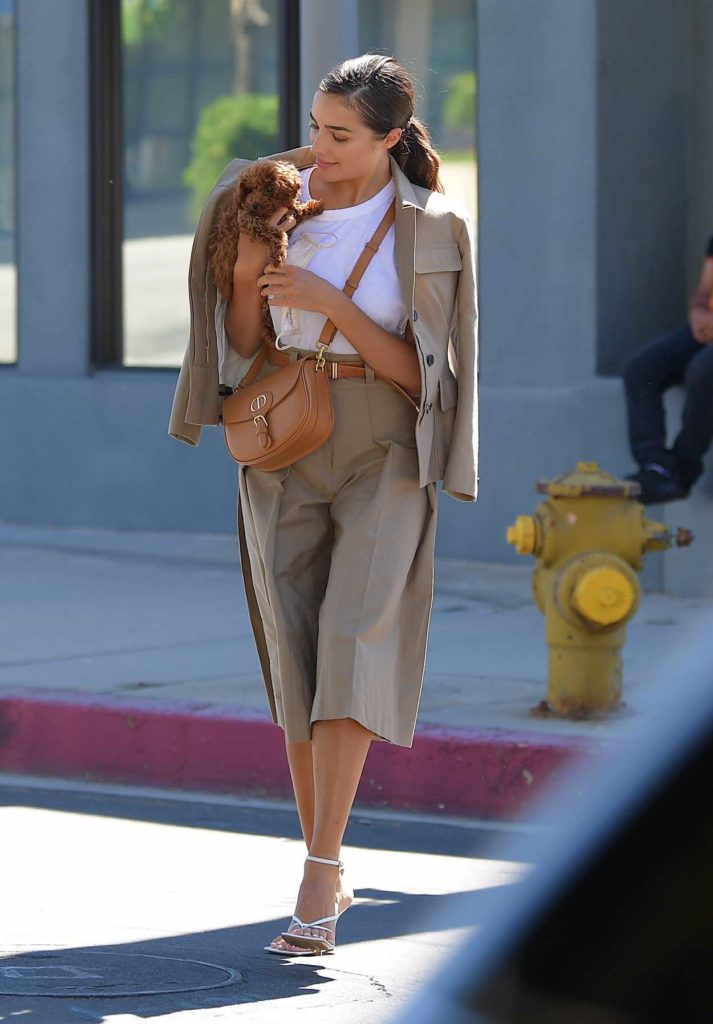 Olivia Culpo in a Beige Suit